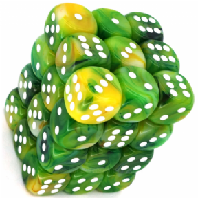 Green & White Phantom 12mm D6 Dice Block